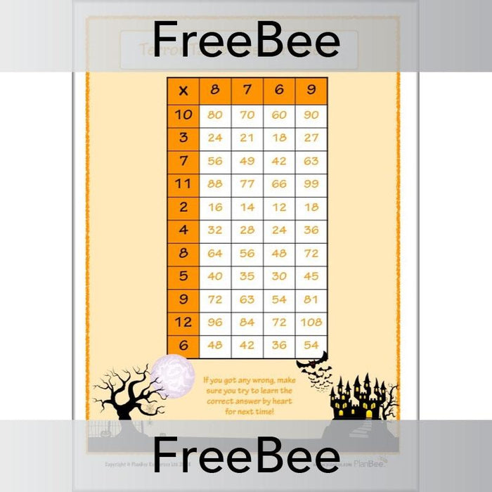 PlanBee Terror Tables: Halloween-themed Times Tables by PlanBee