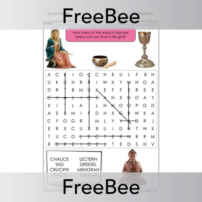 Special Objects Wordsearch