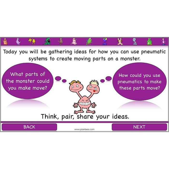 PlanBee Moving Monsters KS2 DT Lesson Planning - Pneumatics KS2 Year 3