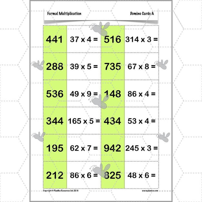 PlanBee Formal Multiplication - Multiplication & Division Year 5 Maths
