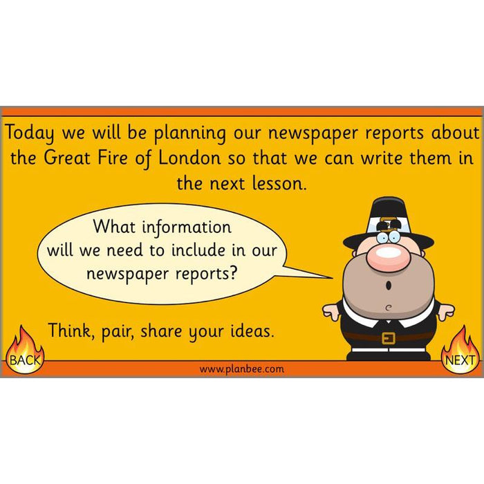PlanBee Year 2 Great Fire of London Newspaper Reports English Plans