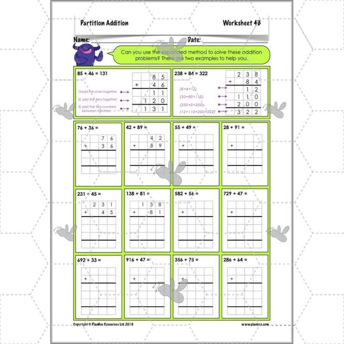 PlanBee Partition Addition: Year 3 Primary Maths Lessons and Resources