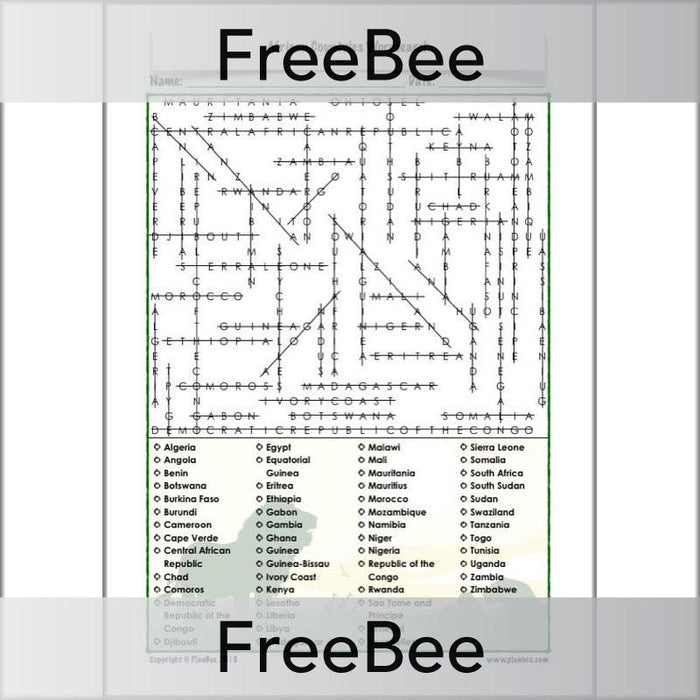 PlanBee African Countries Wordsearch | Free KS2 Downloadable Puzzle