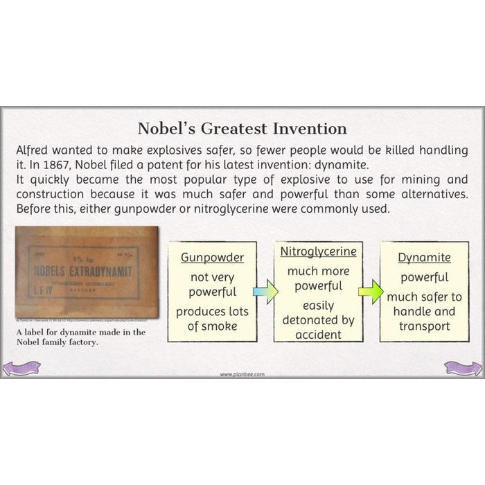 PlanBee Alfred Nobel Lessons for KS2 by PlanBee