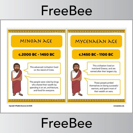 PlanBee FREE Ancient Greece Timeline KS2 Display Cards