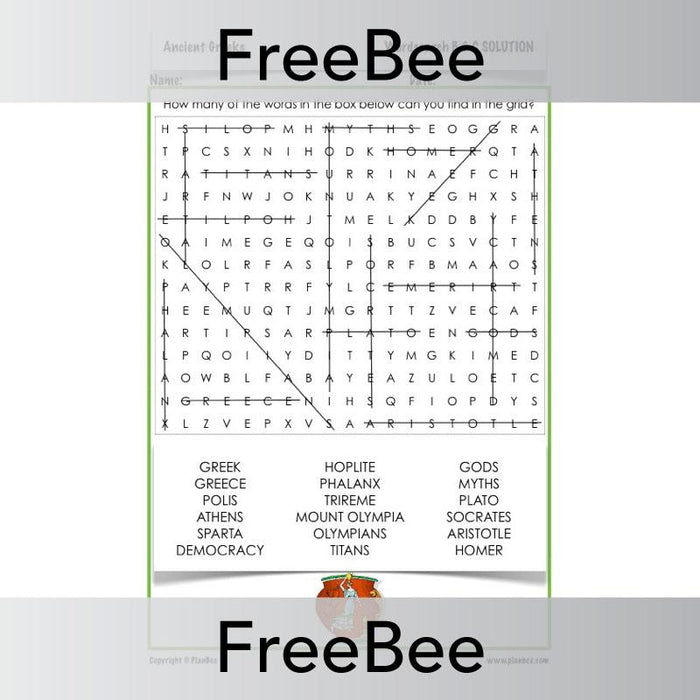 PlanBee Ancient Greece Word Search | PlanBee FreeBees