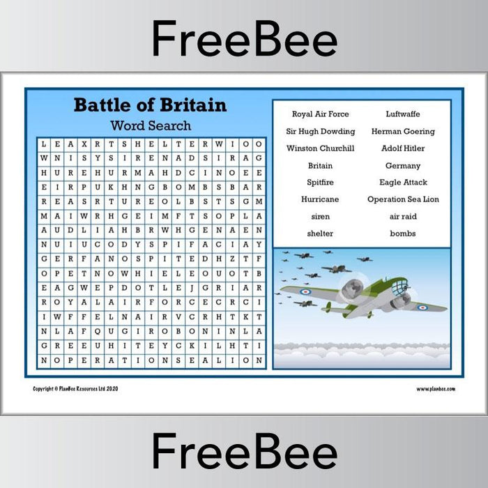 PlanBee FREE downloadable Battle of Britain Word Search by PlanBee