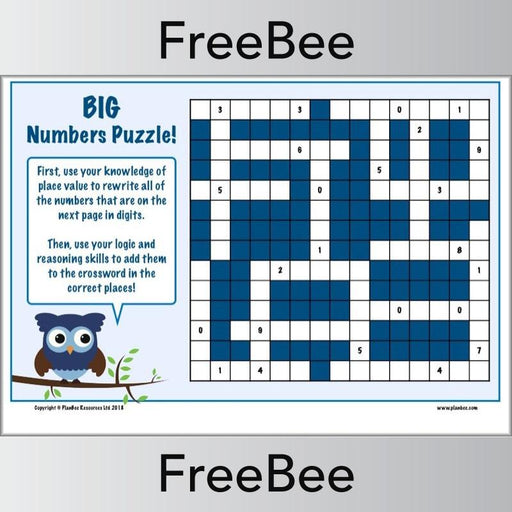 PlanBee Big Numbers Puzzle | Free KS2 Maths Puzzle