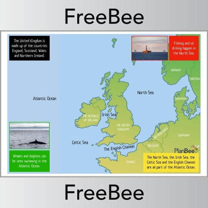 PlanBee FREE Seas Around the UK KS1 Geography Poster