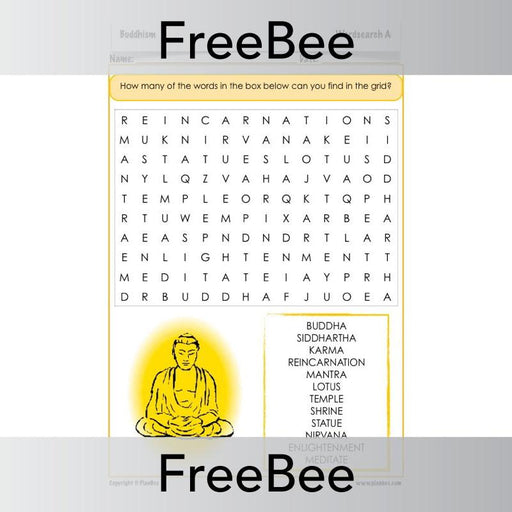 PlanBee Buddhism Word Search | PlanBee FreeBees