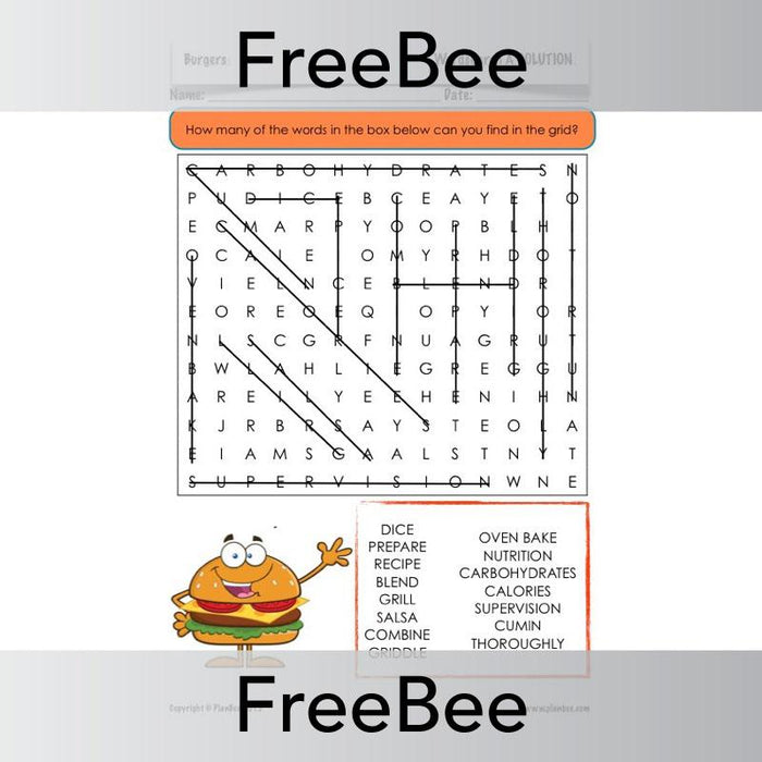 PlanBee Free Burgers Word Search by PlanBee