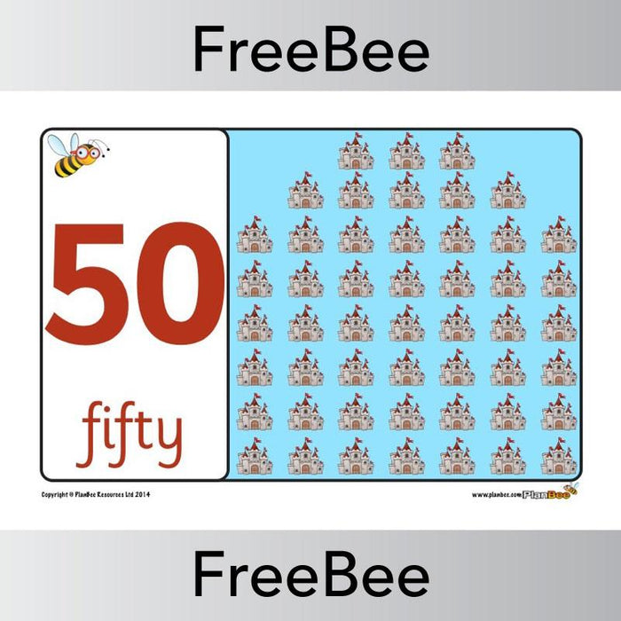 PlanBee FREE castles number line (10-50) | PlanBee FreeBees