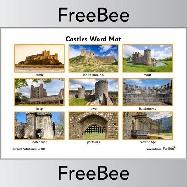 PlanBee Castles word mat to label a castle | PlanBee FreeBees