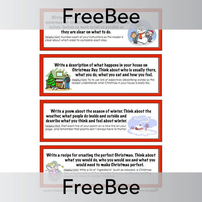 PlanBee Christmas writing ideas: free, printable festive activity cards