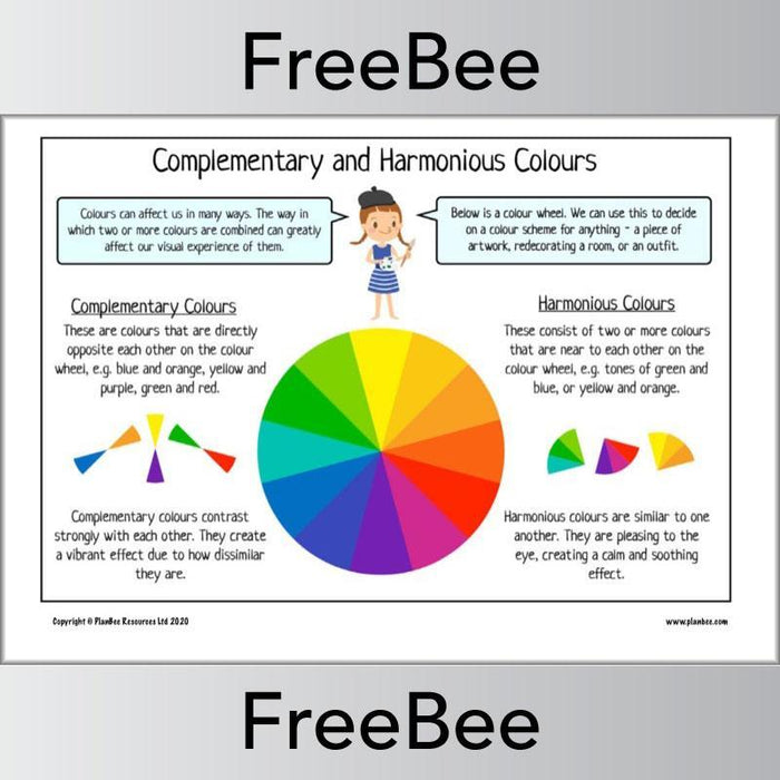 Free Complementary and Harmonious Colours Poster by PlanBee