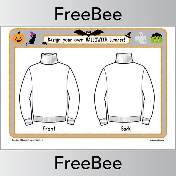 PlanBee FREE Design a Halloween Jumper Worksheet by PlanBee