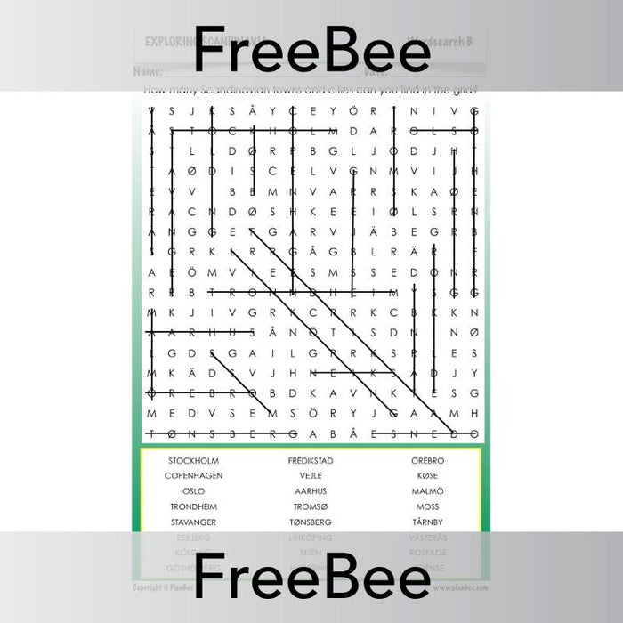 PlanBee Exploring Scandinavia Word Search | PlanBee FreeBees