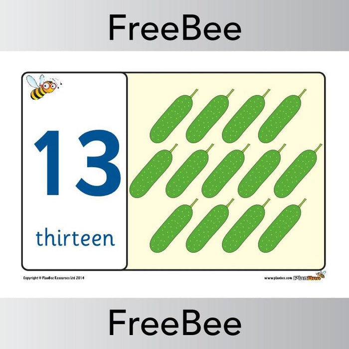 PlanBee Food 1 - 20 Number Line | PlanBee FreeBees
