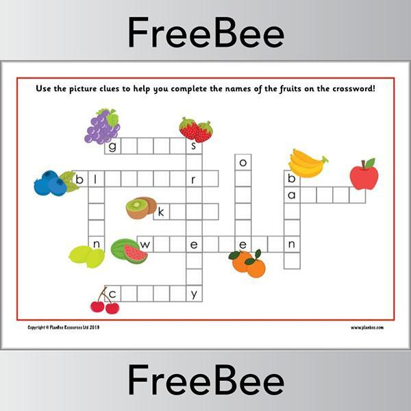 Fruits Crossword KS1