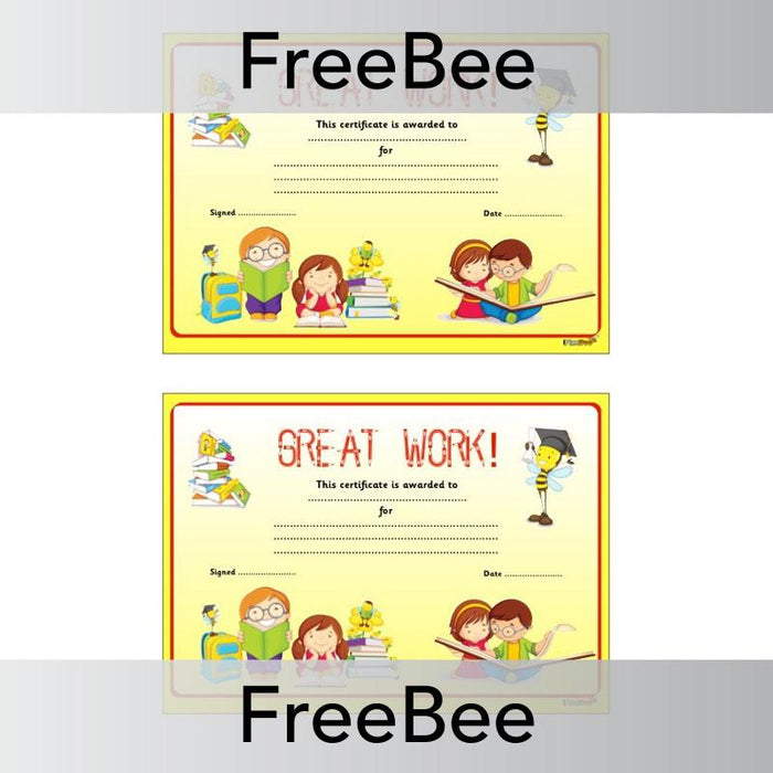 PlanBee Free Great Work Certificate | PlanBee FreeBees