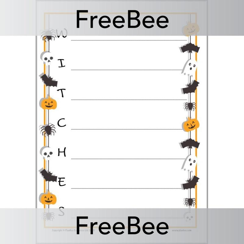 Free Spooky Halloween Acrostic Poem Templates By Planbee