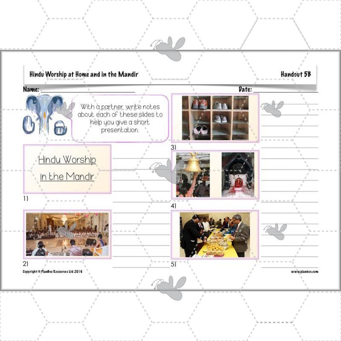 PlanBee Hindus Home and Mandir - Hinduism Worship - KS2 Year 4 RE Lessons