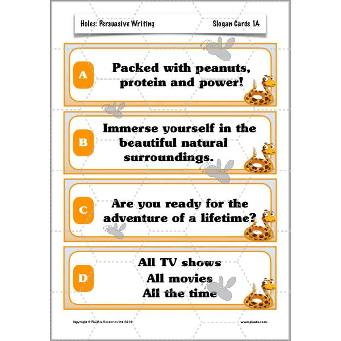 PlanBee Persuasive Writing Year 5 | Holes Activities, Plans & Resources