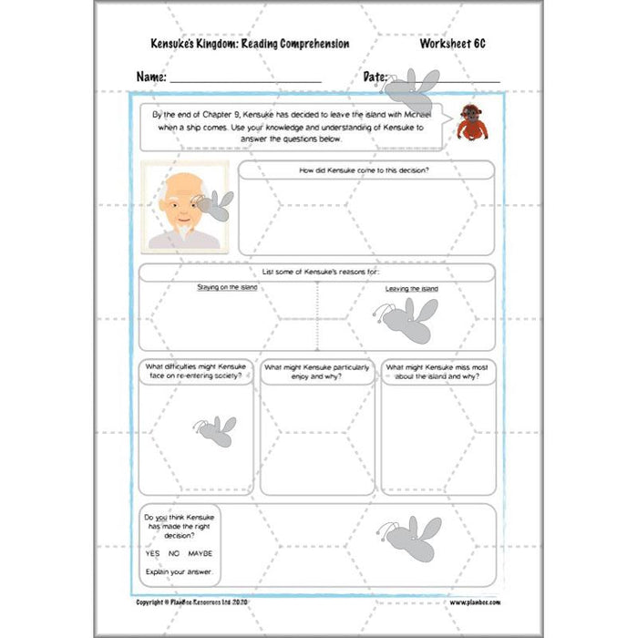 PlanBee Kensuke's Kingdom Planning | Year 6 Reading Comprehension