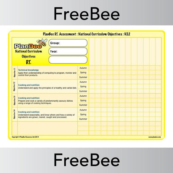 PlanBee Design and Technology Assessment Grid| PlanBee FreeBees