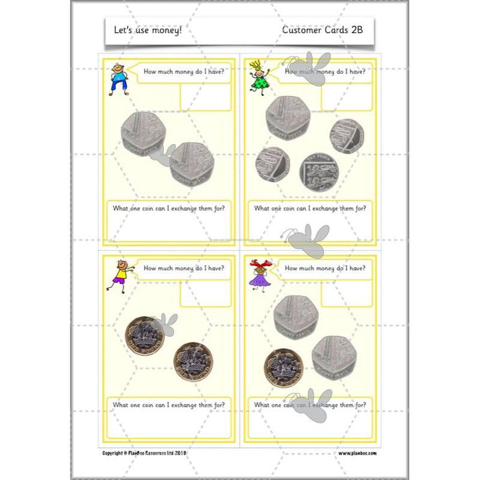 PlanBee Let's use money: Maths money planning for Year 1