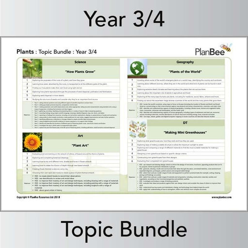 PlanBee Plants Topic - KS2 Year 3 & Year 4 Topic Lesson Planning & Resources