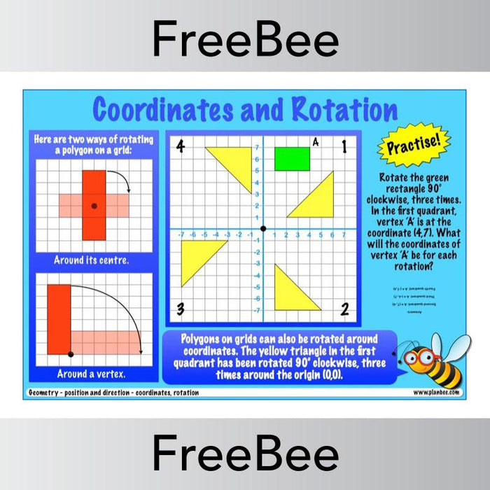 PlanBee Free Coordinates and Rotation KS2 Worksheet