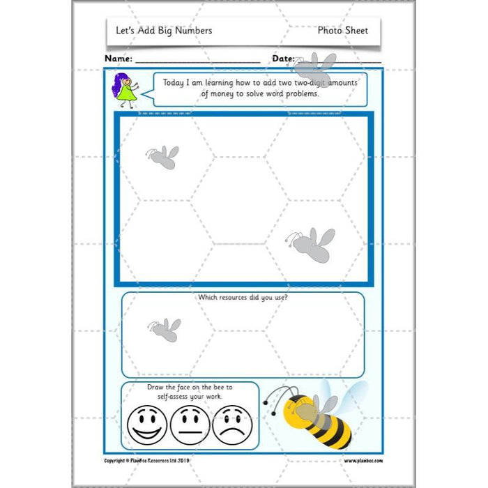 PlanBee Let's Add Big Numbers: Year 2 Maths scheme of work KS1