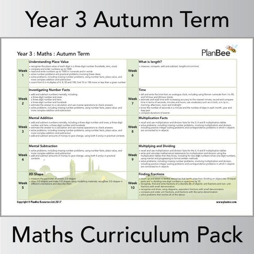 PlanBee Year 3 Maths Curriculum Pack for the Autumn Term | Long Term Planning