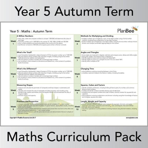 PlanBee Year 5 Maths Curriculum Pack for the Autumn Term | Long Term Planning