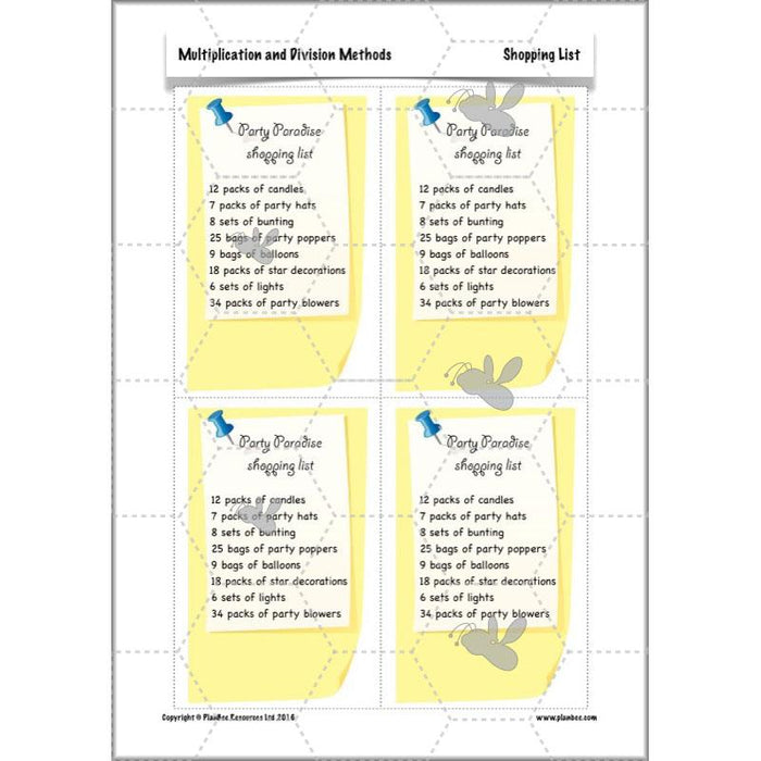 PlanBee Multiplication and Division Methods: Primary Maths Lessons for Year 4