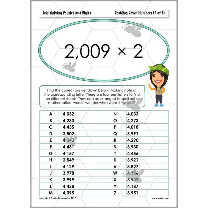 PlanBee Multiplying Doubles & Digits - Complete Year 4 Maths Plans & Resources