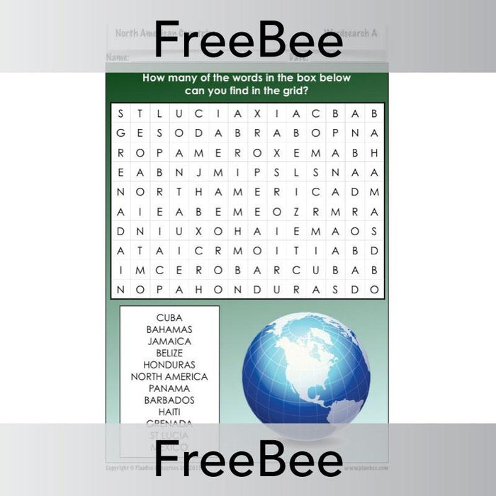 North America Word Search