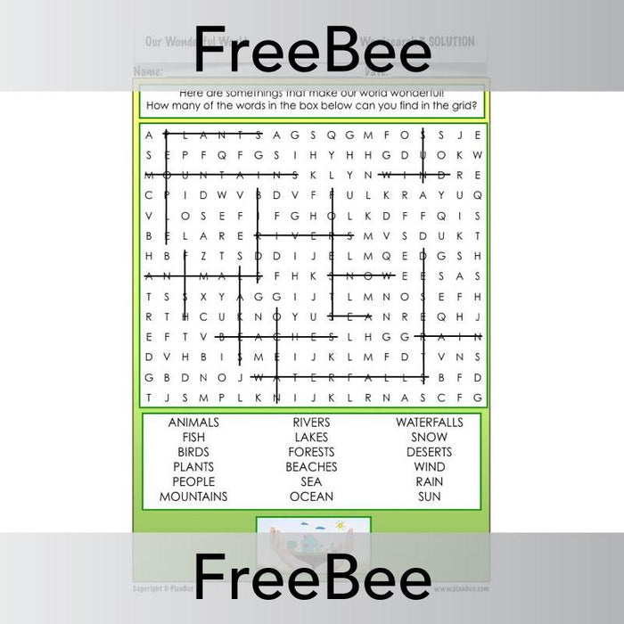 PlanBee Our Wonderful World Word Search | PlanBee FreeBees