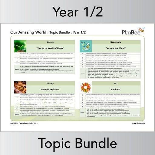 PlanBee Our Amazing World Topic - Year 1 & Year 2 Primary Resources for KS1