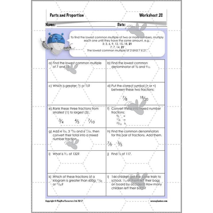 PlanBee Parts and Proportion: ratio KS2 Maths lesson planning