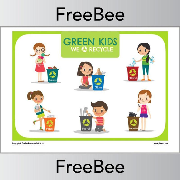 PlanBee Free Recycling Poster for Kids by PlanBee