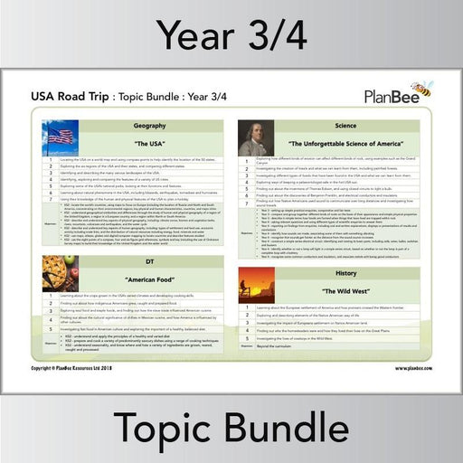 PlanBee Road Trip USA Topic - Year 3 & Year 4 Topic Lesson Plans & Resources