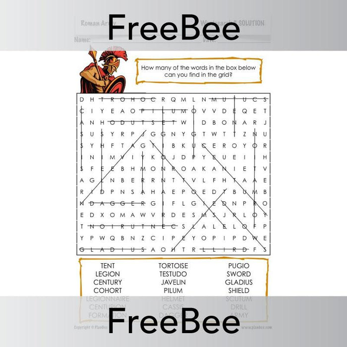 PlanBee Roman Army Word Search | PlanBee FreeBees