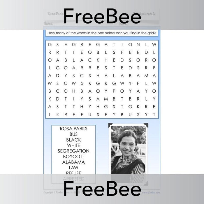 PlanBee Rosa Parks Activity Sheets for kids by PlanBee