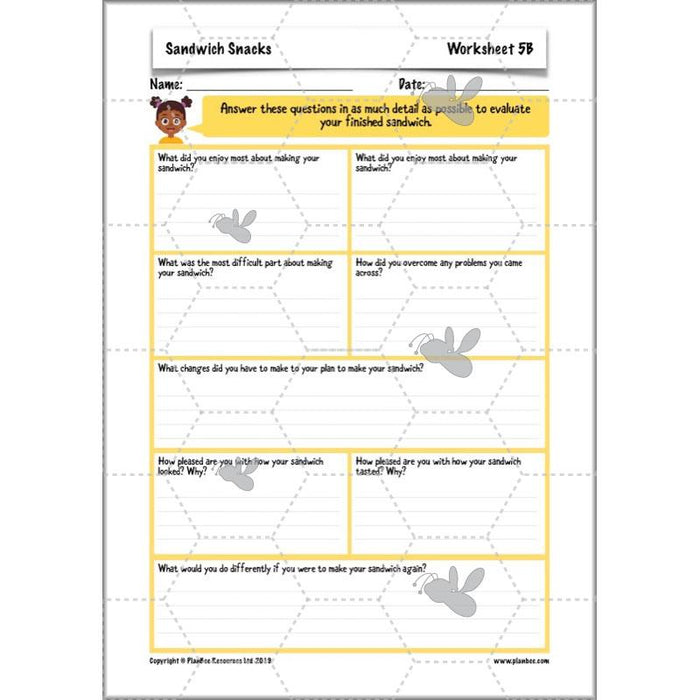 PlanBee Sandwich Snacks Year 3 DT Lesson Planning Pack