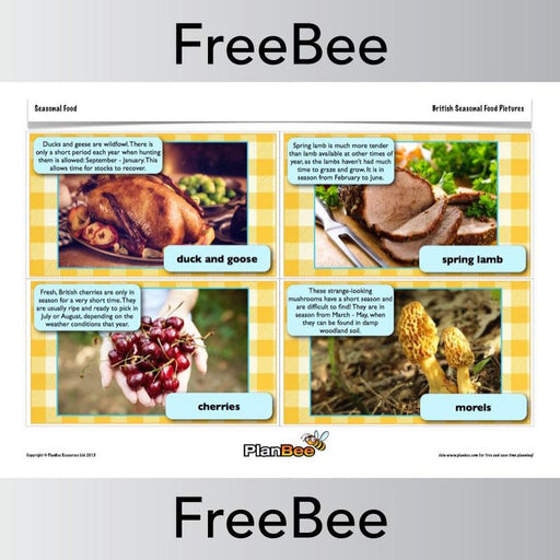PlanBee British Food Word, Picture and Description Cards | PlanBee