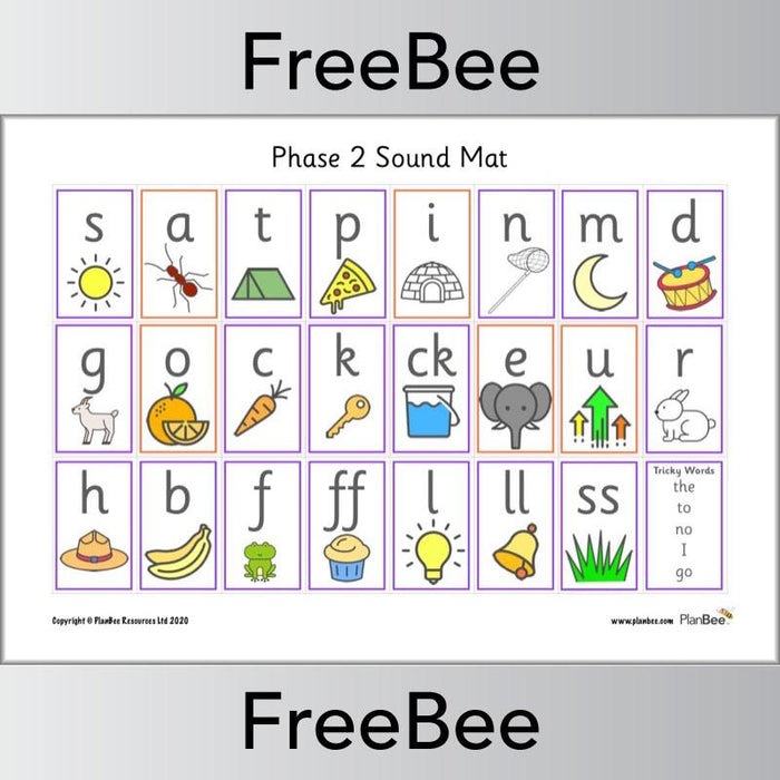 PlanBee Phase 2 Sound Mat Phonic Resource by PlanBee