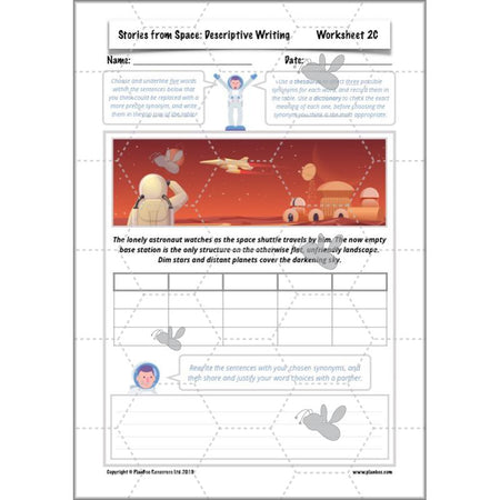 PlanBee Stories from Space: Descriptive Writing KS2 Lessons