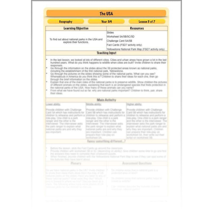 PlanBee The USA: KS2 Geography scheme of work for Year 3 & Year 4